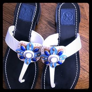 Tory Burch White Sandals w/ Blue Flower Size 9 1/2